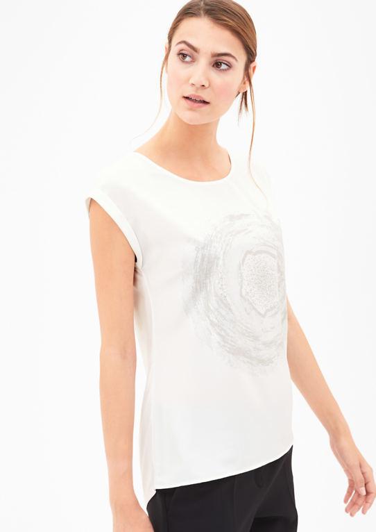Блузка рубашка с блеском печати