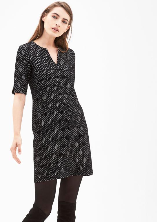 Жаккардовое платье с ретро узором