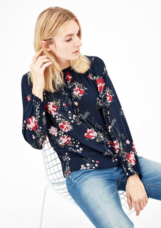 Цветочный Рябить Блузка