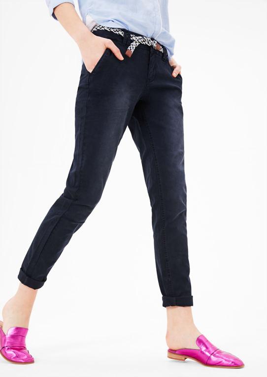 Smart Chino брюки с плетеный пояс