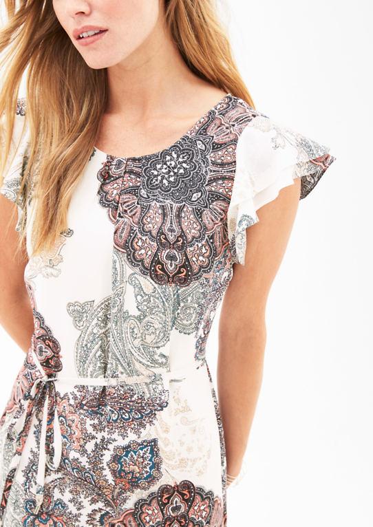 Печати платье с flouncing рукав