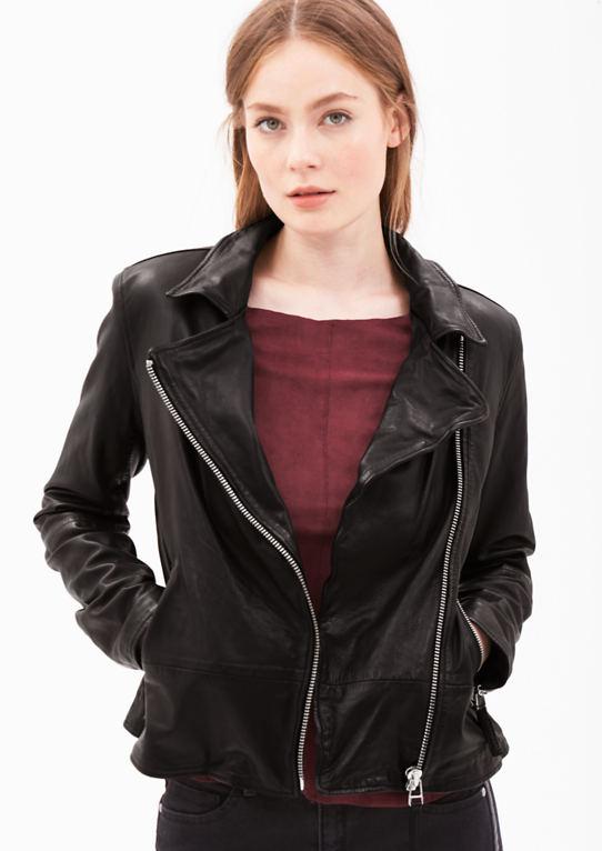 Тонкая кожаная куртка из ягненка наппа