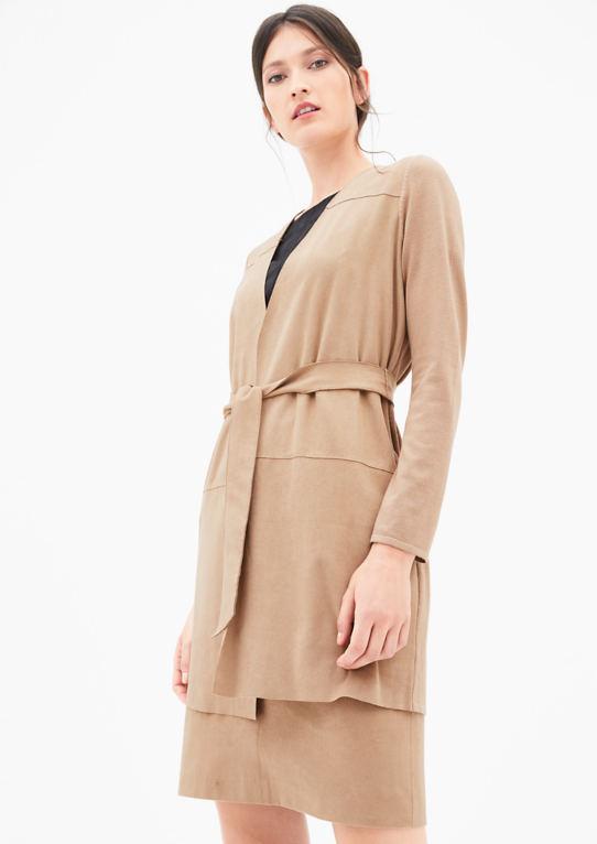 Вязание пальто с кожаными Вид-фронтальный