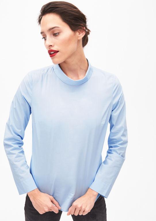Стрейч блузка с воротником-стойкой