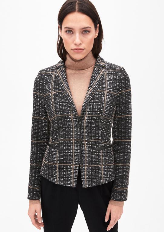 Woll-Optik-пиджак с кожаными вид детали