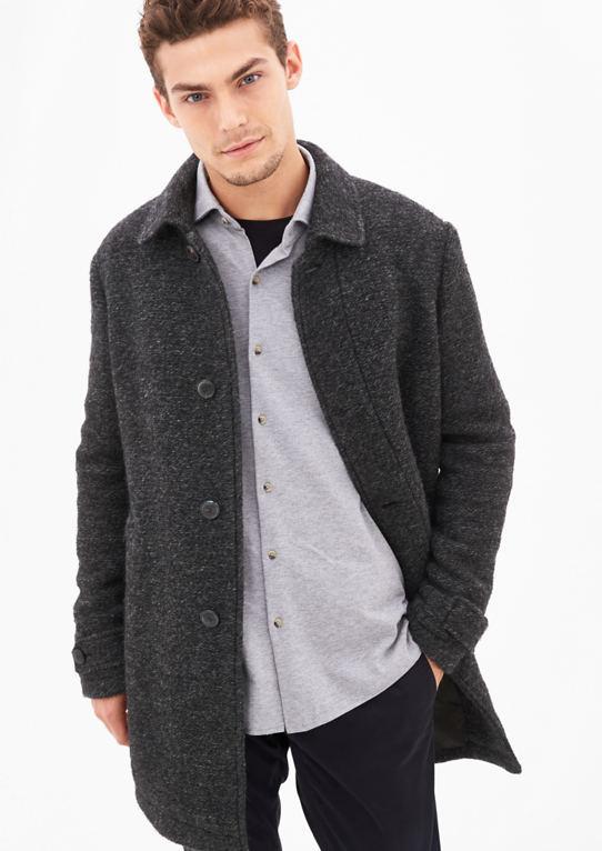 Шерстяное пальто с меланж-структура