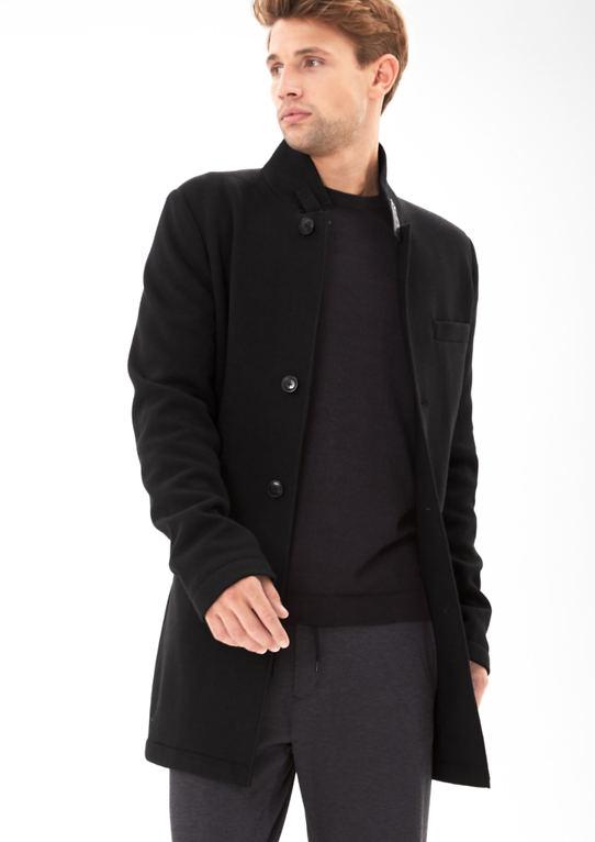 Трикотажное пальто с воротником батончики