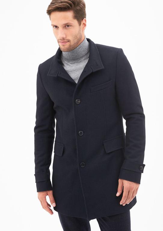 Шерстяное пальто с кожаными деталями