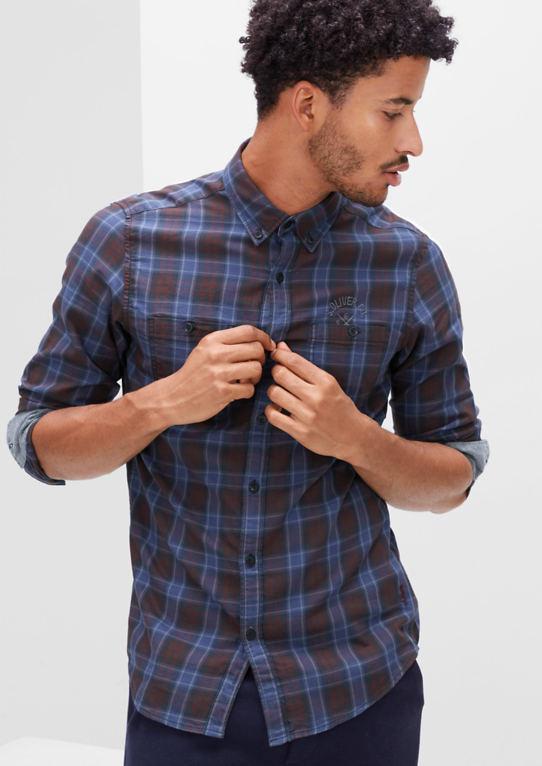 Slim: клетчатая рубашка с логотип-Stitching