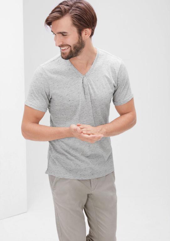 Меланжевая Рубашка с пуговицами
