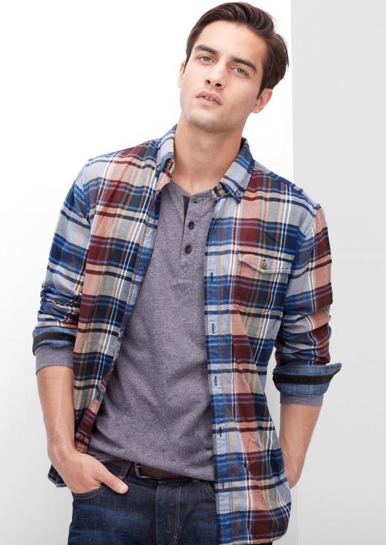Regular: клетчатая рубашка из softem саржа