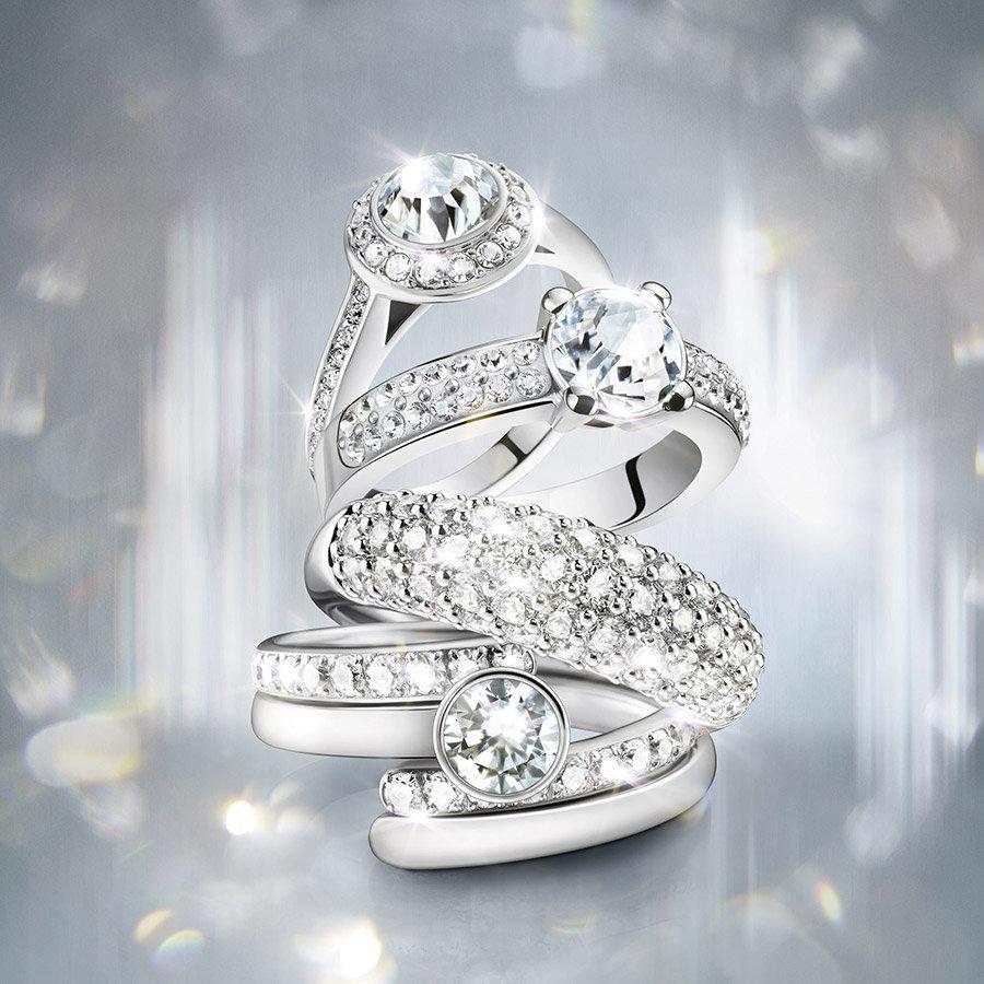 Maeva кольцо, белый, родиевое покрытие