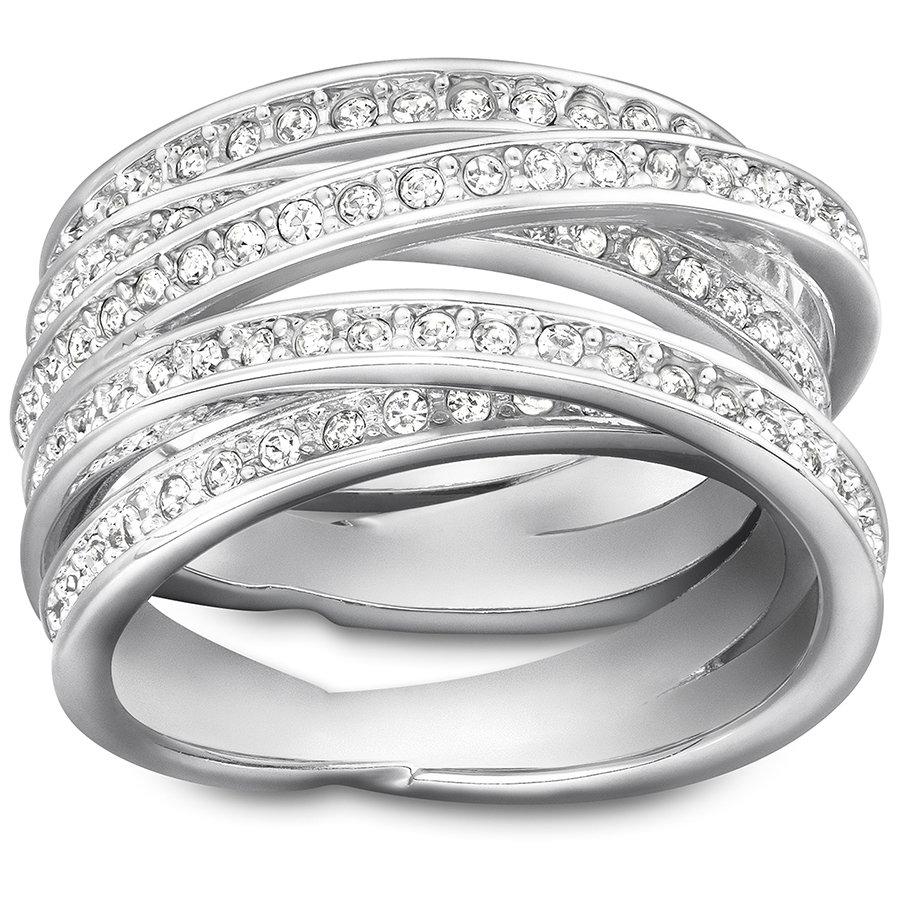 Спиральное кольцо, белый, родиевое покрытие