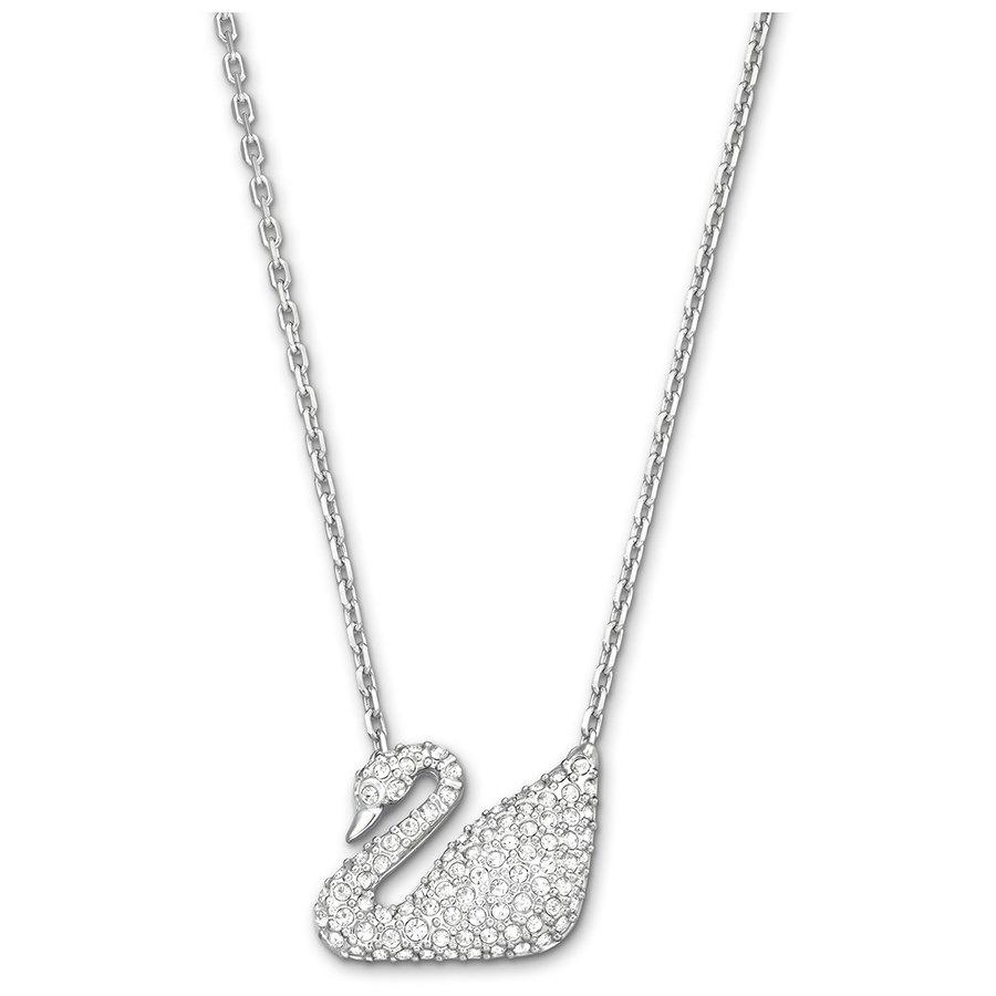 Лебедь ожерелье, белый, родиевое покрытие